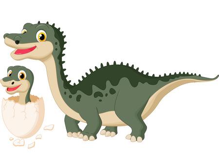 dinosaur egg: Cartoon Mother dinosaur with baby hatching