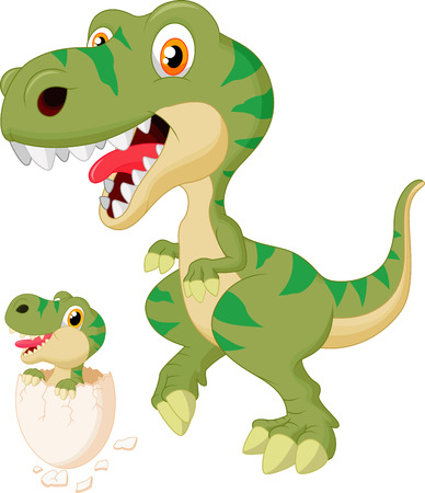 dinosaur egg: Cartoon Mother and baby dinosaur hatching