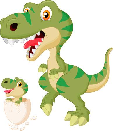 tiranosaurio rex: Madre y beb� de dibujos animados dinosaurio de eclosi�n Vectores