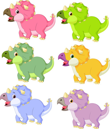 triceratops: Cartoon triceratops in different color