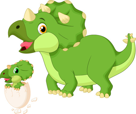 Cartoon Mother triceratops with baby hatching Illustration