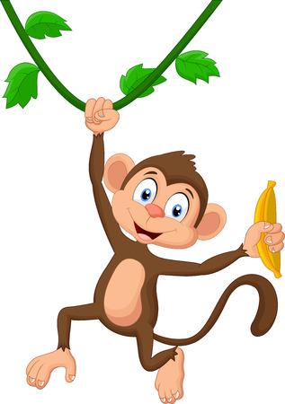 만화 원숭이 매달려 일러스트