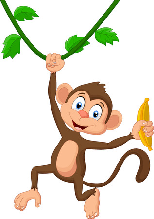 monkey on a tree: Cartoon monkey hanging