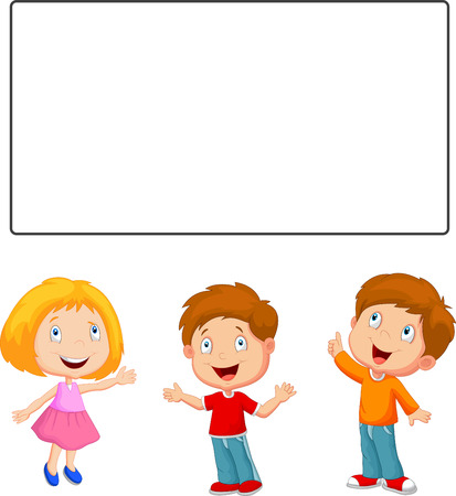 Happy children cartoon looking and pointing to blank banner