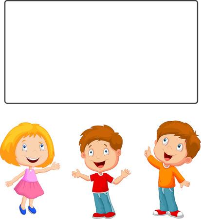 niños con pancarta: Los niños de dibujos animados feliz mirando y apuntando a la bandera en blanco
