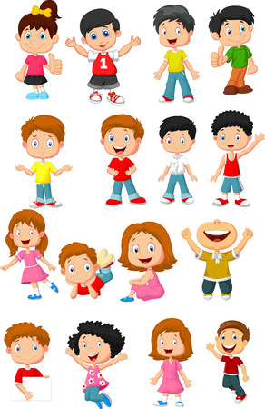Happy kid cartoon collection Stock Illustratie