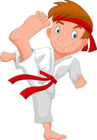 chicos: El niño pequeño de dibujos animados entrenamiento de karate