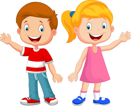 young girl: Cute children cartoon waving hand