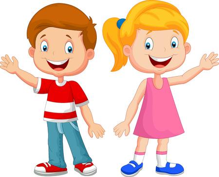 petite fille avec robe: Les enfants bande dessinée mignonne main agitant