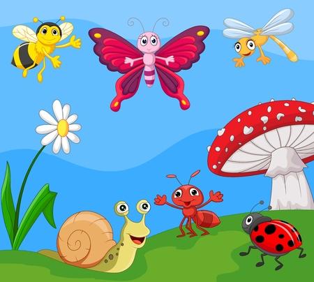 hormiga hoja: Pequeño animal de la historieta Vectores