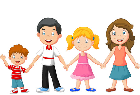 Happy family cartoon holding hands