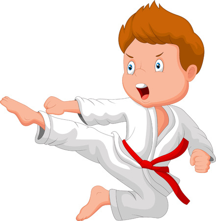 school uniform: Little boy cartoon training karate
