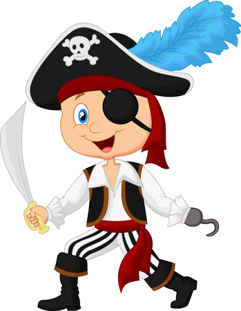 kid playing: Cute cartoon pirate Illustration