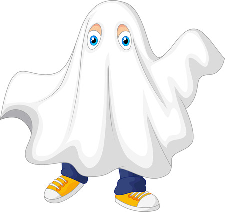 Cute kid cartoon in a ghost costume celebrating Halloween Ilustracja