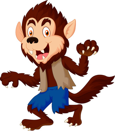 wild dog: Smiling cartoon werewolf