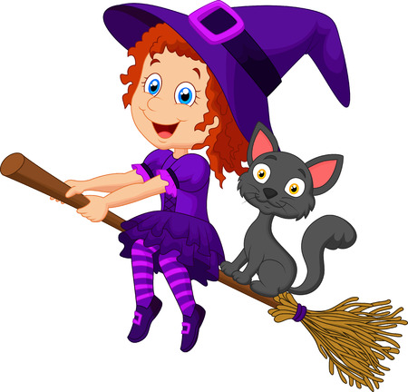 Cartoon young witch flying on her broom Ilustração