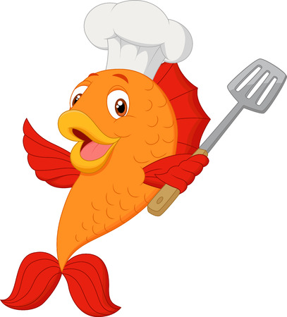 Cartoon chef fish holding spatula Illustration