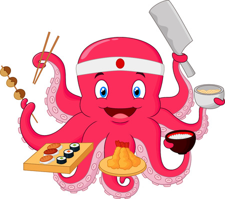 salmon fish: Octopus chef cartoon Illustration