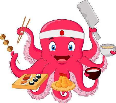 Octopus dessin animé chef Vecteurs