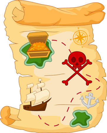 Treasure map cartoon Vector