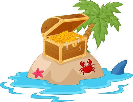 isla del tesoro: La isla del tesoro de dibujos animados Vectores