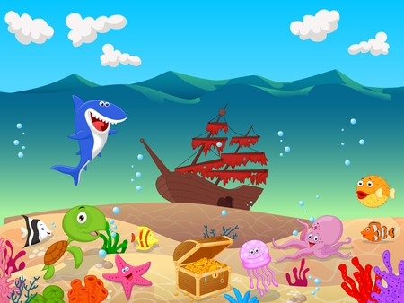 underwater fishes: Cartoon Underwater background with old ship