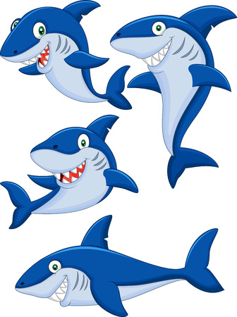 shark mouth: Cartoon shark collection set
