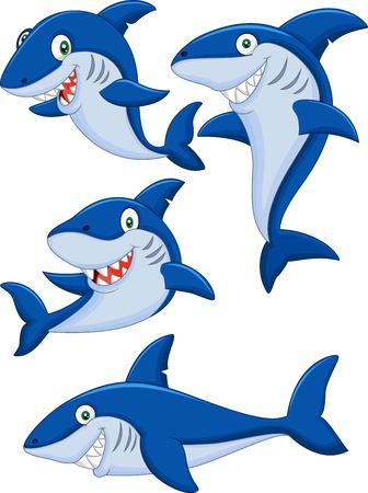 tiburon caricatura: Conjunto de la colecci�n de tibur�n de dibujos animados