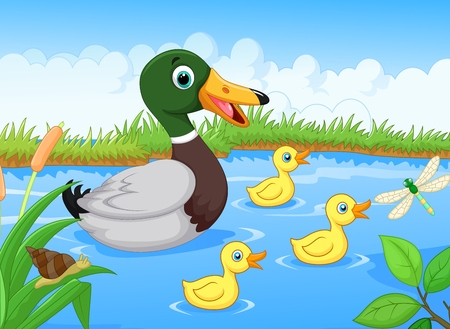 Cartoon duck Vector