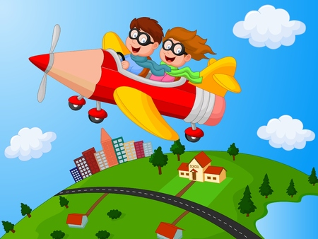 School Children cartoon Enjoying airplane pencil Vector