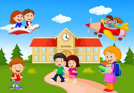 cartoon school girl: Happy cartoon school children