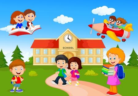 patio escuela: Ni�os felices escuela de dibujos animados Vectores
