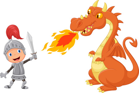 Cartoon knight with fierce dragon