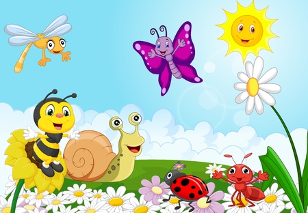 bees: Cartoon small animals
