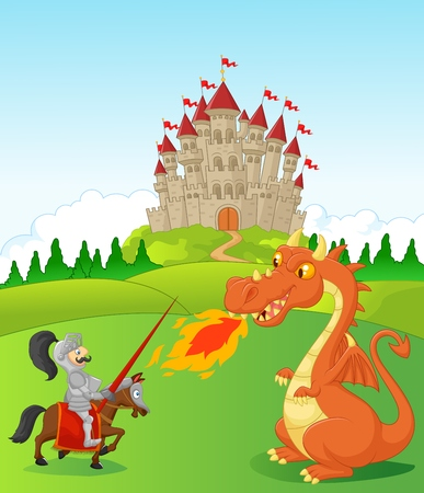 fairytale castle: Cartoon knight with fierce dragon