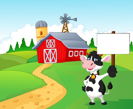 Cartoon cow holding blank sign with farm background Vector