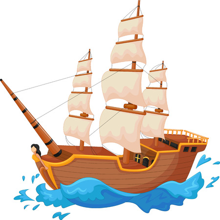 Cartoon ship Ilustrace