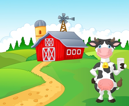 Cartoon cow holding a glass of milk with farm background Illustration