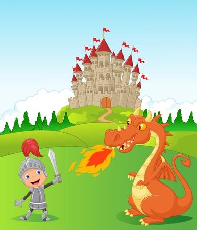 Cartoon knight with fierce dragon Vector