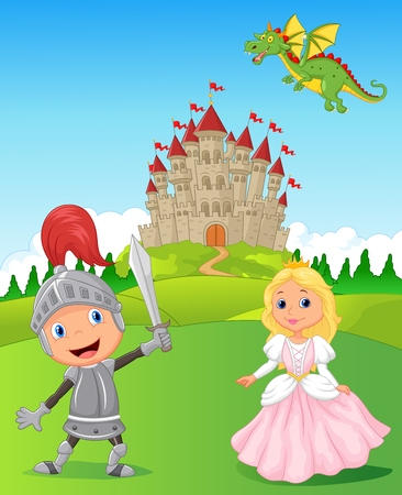 angry sky: Cartoon Knight, princess and dragon Illustration