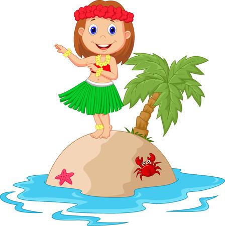enfant maillot de bain: Hula fille de bande dessin�e dans l'�le tropicale Illustration