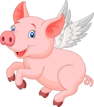 Cute pig cartoon flying