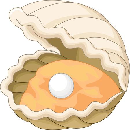 Cartoon Auster mit einer Perle Standard-Bild - 33366943