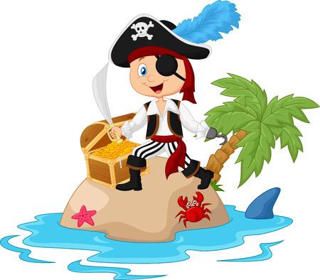 cartoon shark: De dibujos animados pirata en la isla del tesoro