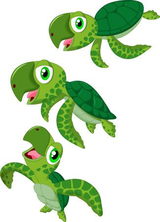 Cartoon sea turtle Vector