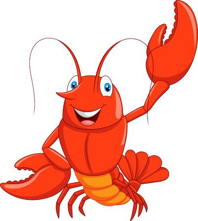 Cartoon lobster waving 일러스트