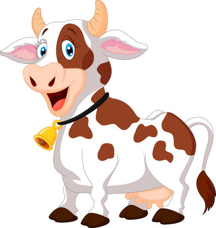 animales de granja: Vaca feliz de dibujos animados