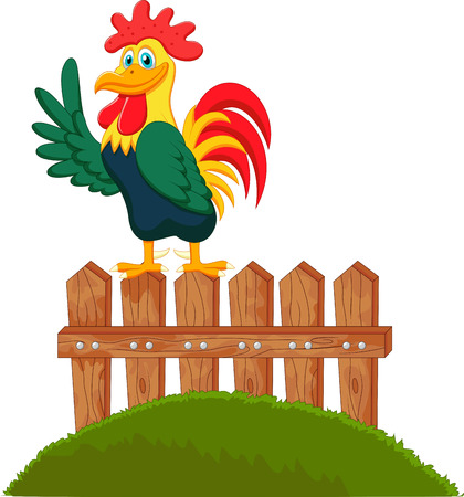 Cute rooster cartoon crowing on the fence Vector