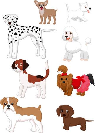 La colección del perro de dibujos animados Ilustración de vector