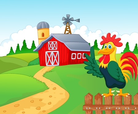 Happy cartoon roster in the farm  イラスト・ベクター素材